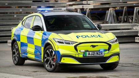 RED ALERT, BLUE LIGHTS? GREEN SOLUTION…WITH NEW FORD MACH-E POLICE CAR